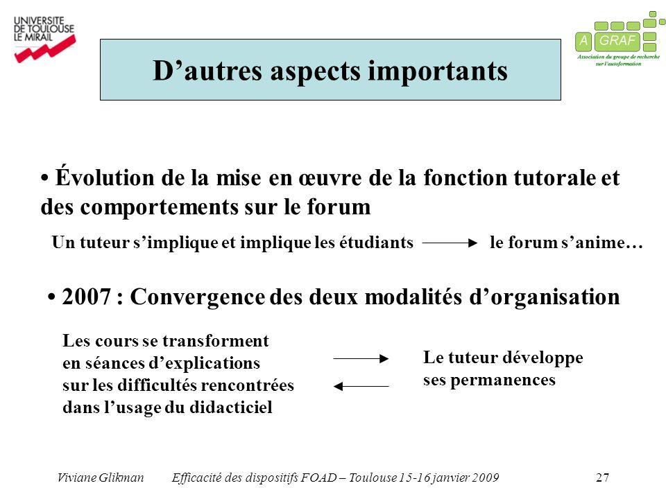 Viviane GlikmanEfficacité des dispositifs FOAD – Toulouse 15-16 janvier 200927 Dautres aspects importants Évolution de la mise en œuvre de la fonction