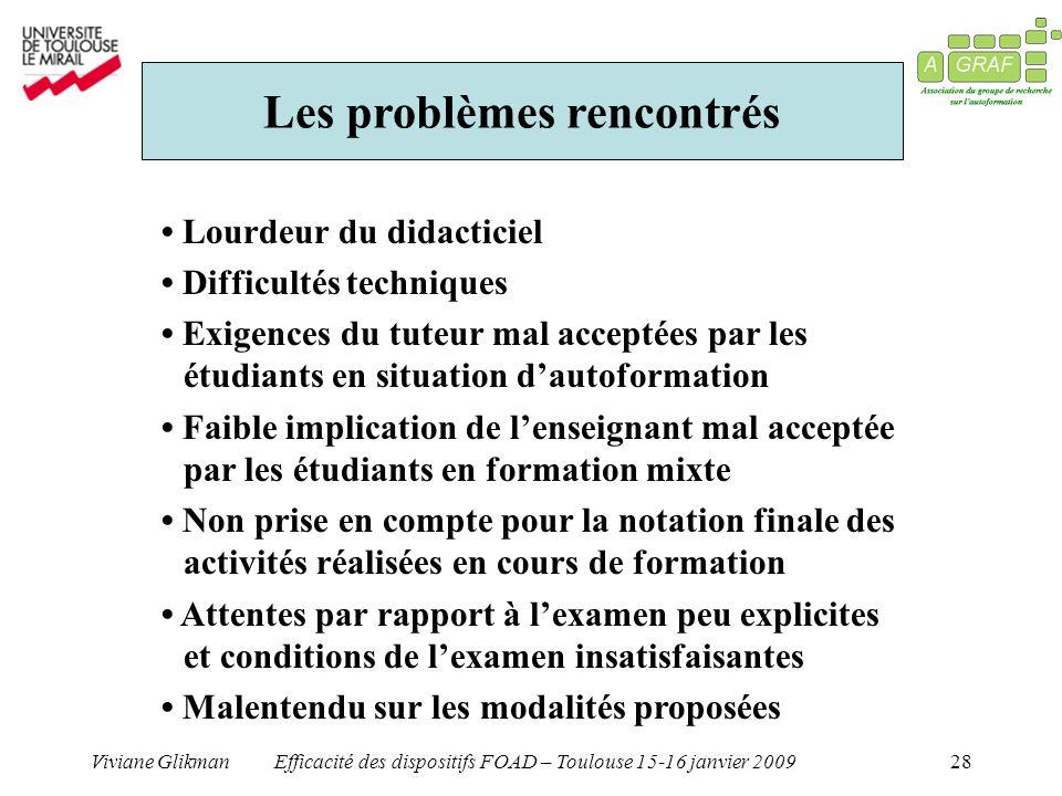Viviane GlikmanEfficacité des dispositifs FOAD – Toulouse 15-16 janvier 200928 Les problèmes rencontrés Lourdeur du didacticiel Difficultés techniques