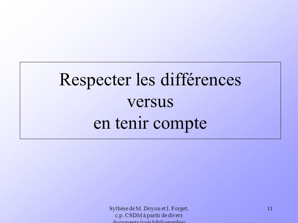 Sythèse de M. Doyon et I. Forget, c.p. CSDM à partir de divers documents (voir bibliographie) 11 Respecter les différences versus en tenir compte