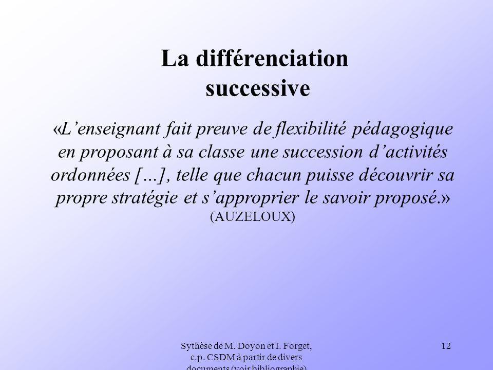 Sythèse de M. Doyon et I. Forget, c.p. CSDM à partir de divers documents (voir bibliographie) 12 La différenciation successive «Lenseignant fait preuv