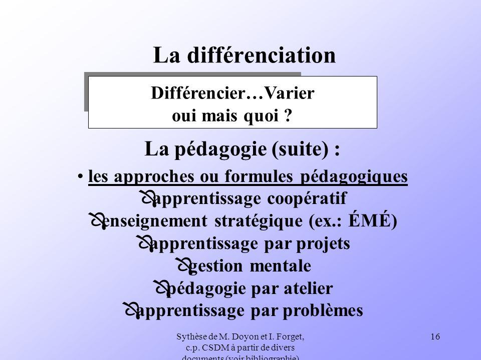 Sythèse de M. Doyon et I. Forget, c.p. CSDM à partir de divers documents (voir bibliographie) 16 La différenciation Différencier…Varier oui mais quoi