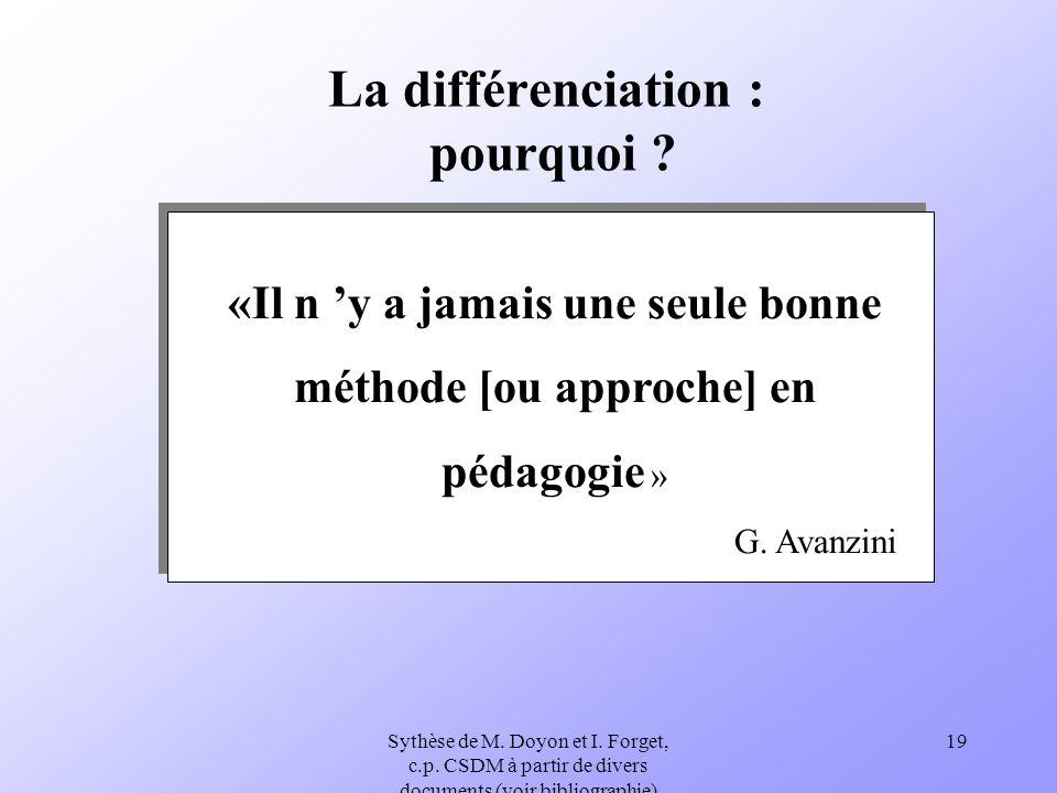 Sythèse de M. Doyon et I. Forget, c.p. CSDM à partir de divers documents (voir bibliographie) 19 La différenciation : pourquoi ? «Il n y a jamais une