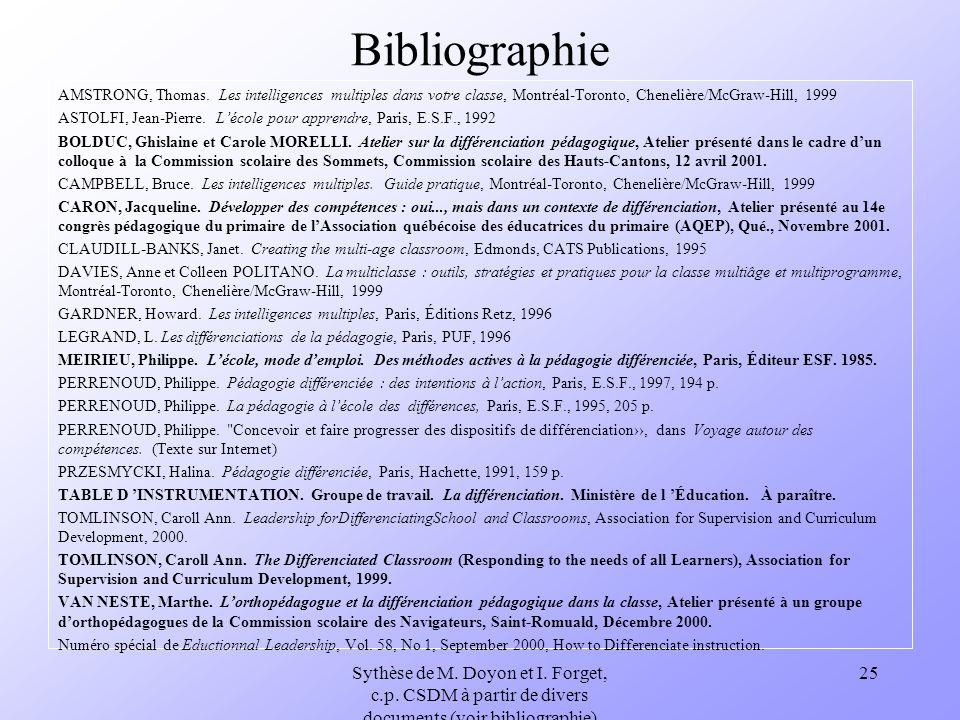 Sythèse de M. Doyon et I. Forget, c.p. CSDM à partir de divers documents (voir bibliographie) 25 Bibliographie AMSTRONG, Thomas. Les intelligences mul