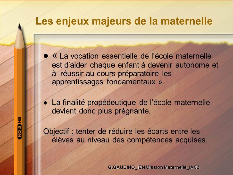 Les enjeux majeurs de la maternelle « La vocation essentielle de lécole maternelle est daider chaque enfant à devenir autonome et à réussir au cours p