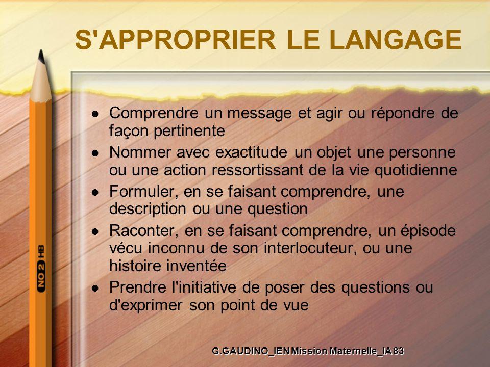 S'APPROPRIER LE LANGAGE Comprendre un message et agir ou répondre de façon pertinente Nommer avec exactitude un objet une personne ou une action resso