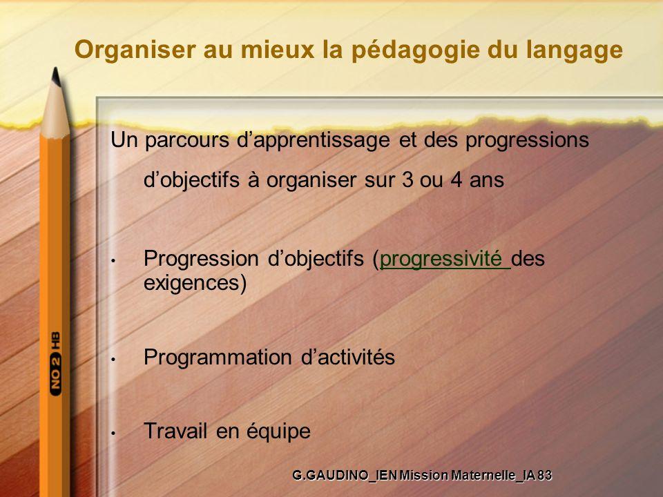 Organiser au mieux la pédagogie du langage Un parcours dapprentissage et des progressions dobjectifs à organiser sur 3 ou 4 ans Progression dobjectifs