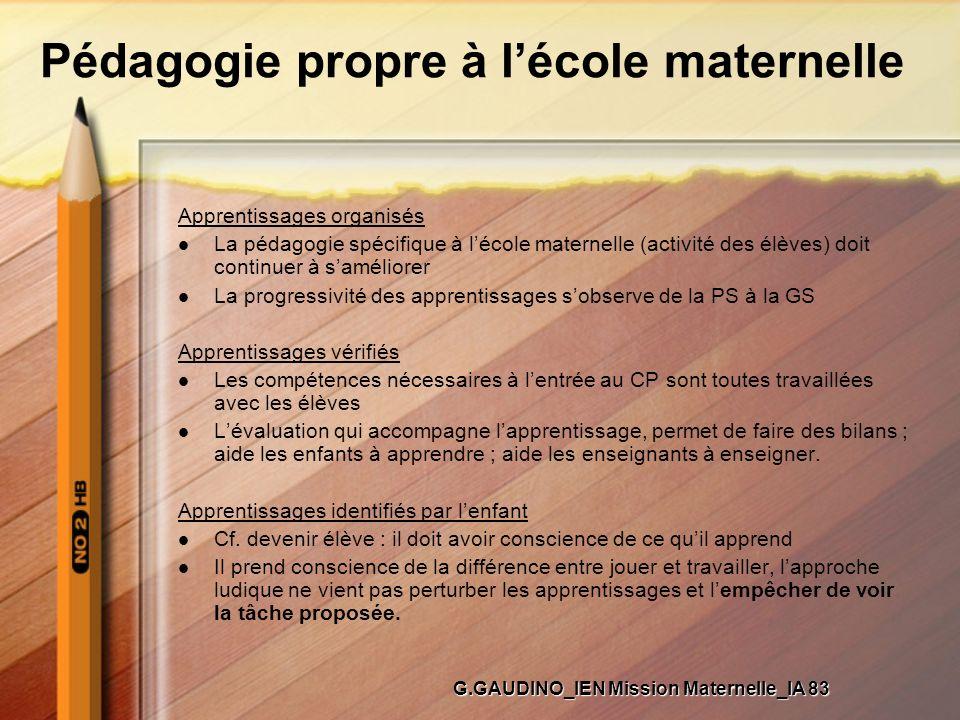 Pédagogie propre à lécole maternelle Apprentissages organisés La pédagogie spécifique à lécole maternelle (activité des élèves) doit continuer à samél