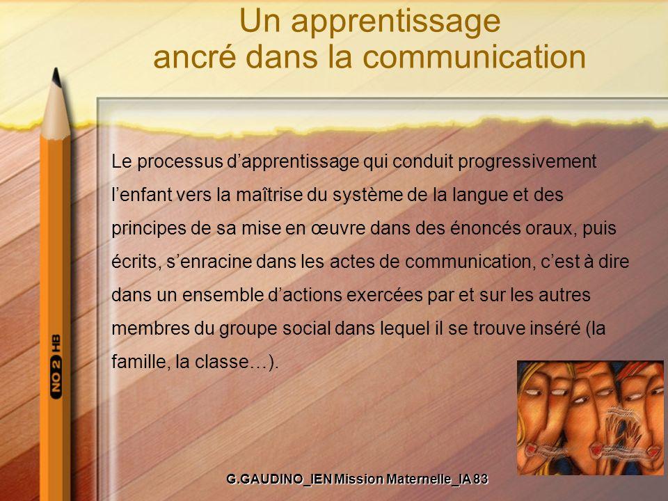 Un apprentissage ancré dans la communication Le processus dapprentissage qui conduit progressivement lenfant vers la maîtrise du système de la langue