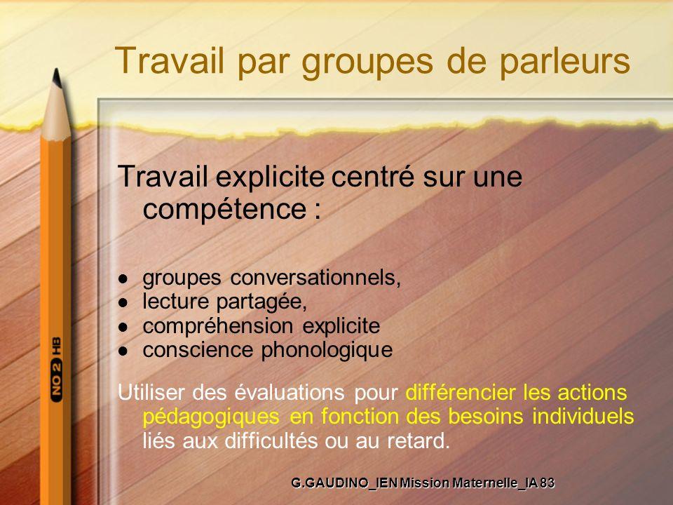 Travail par groupes de parleurs Travail explicite centré sur une compétence : groupes conversationnels, lecture partagée, compréhension explicite cons