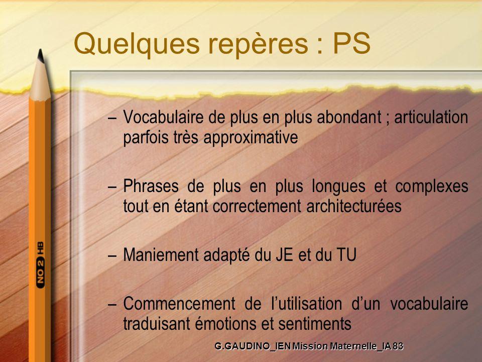 Quelques repères : PS –Vocabulaire de plus en plus abondant ; articulation parfois très approximative –Phrases de plus en plus longues et complexes to