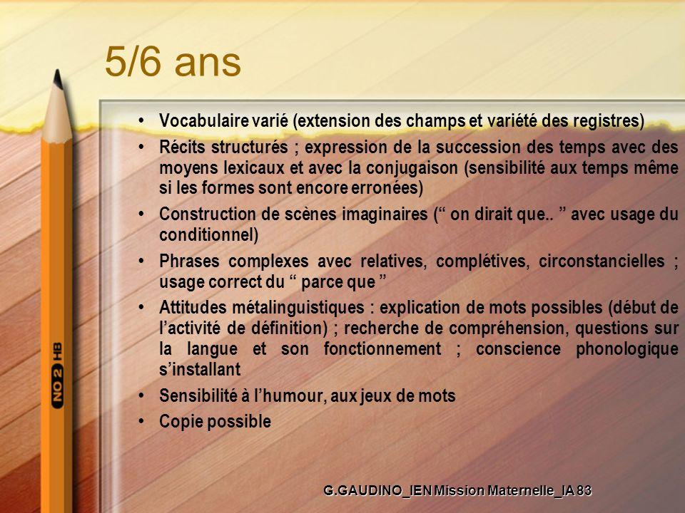 5/6 ans Vocabulaire varié (extension des champs et variété des registres) Récits structurés ; expression de la succession des temps avec des moyens le
