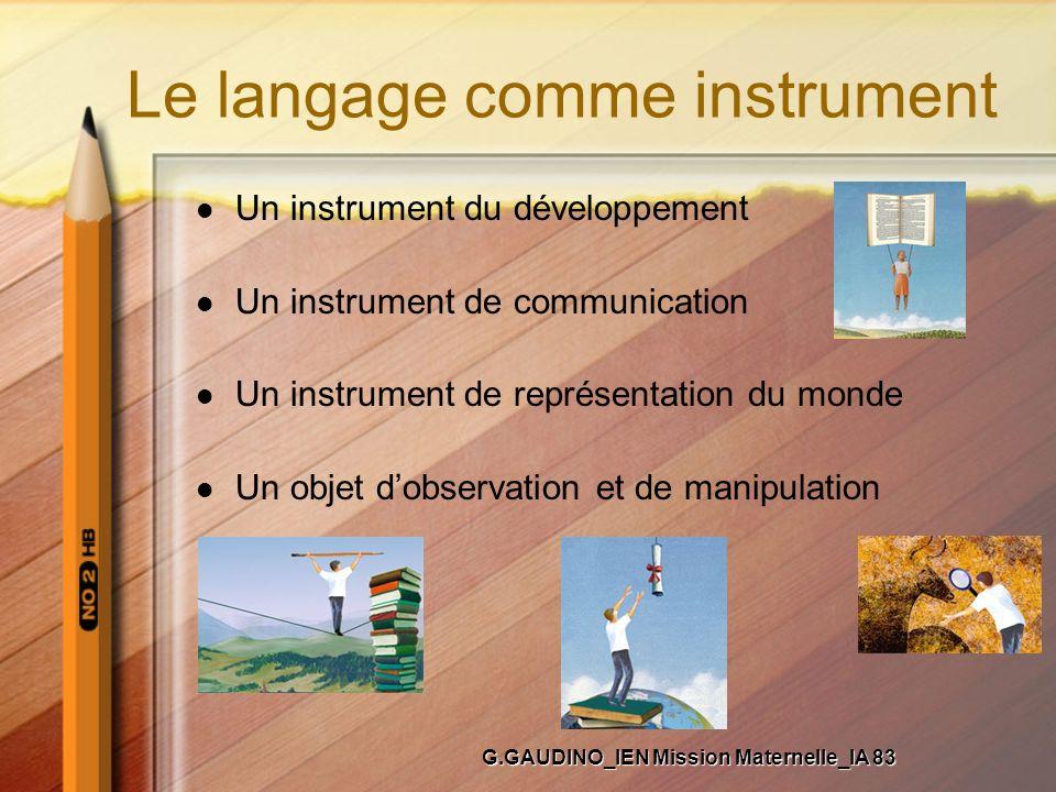 Le langage comme instrument Un instrument du développement Un instrument de communication Un instrument de représentation du monde Un objet dobservati