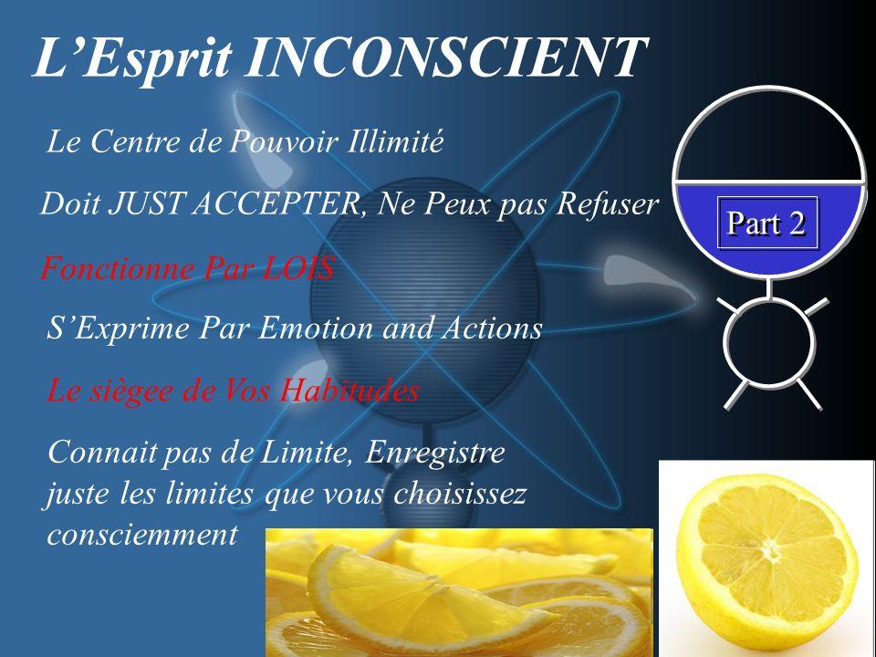 Part 2 LEsprit INCONSCIENT Le Centre de Pouvoir Illimité Doit JUST ACCEPTER, Ne Peux pas Refuser Fonctionne Par LOIS SExprime Par Emotion and Actions