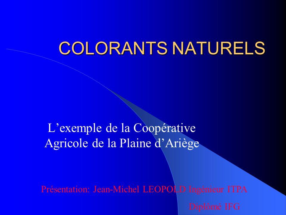 COLORANTS NATURELS Lexemple de la Coopérative Agricole de la Plaine dAriège Présentation: Jean-Michel LEOPOLD Ingénieur ITPA Diplômé IFG