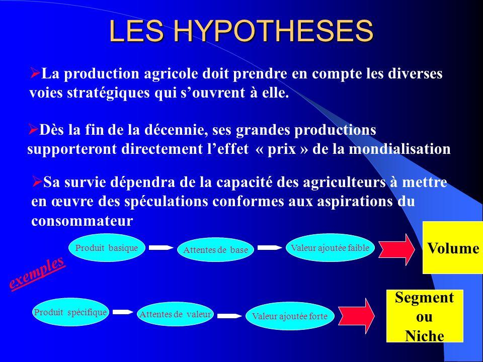 LES HYPOTHESES La production agricole doit prendre en compte les diverses voies stratégiques qui souvrent à elle. Dès la fin de la décennie, ses grand