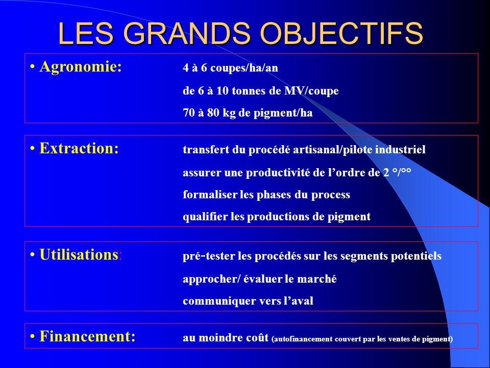 LES GRANDS OBJECTIFS Agronomie: 4 à 6 coupes/ha/an de 6 à 10 tonnes de MV/coupe 70 à 80 kg de pigment/ha Extraction: transfert du procédé artisanal/pi