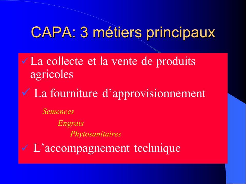 CAPA: 3 métiers principaux La collecte et la vente de produits agricoles La fourniture dapprovisionnement Semences Engrais Phytosanitaires Laccompagne