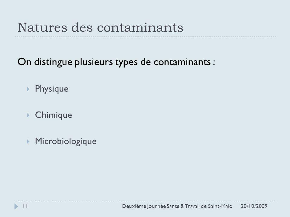 Natures des contaminants On distingue plusieurs types de contaminants : Physique Chimique Microbiologique 20/10/2009 Deuxième Journée Santé & Travail