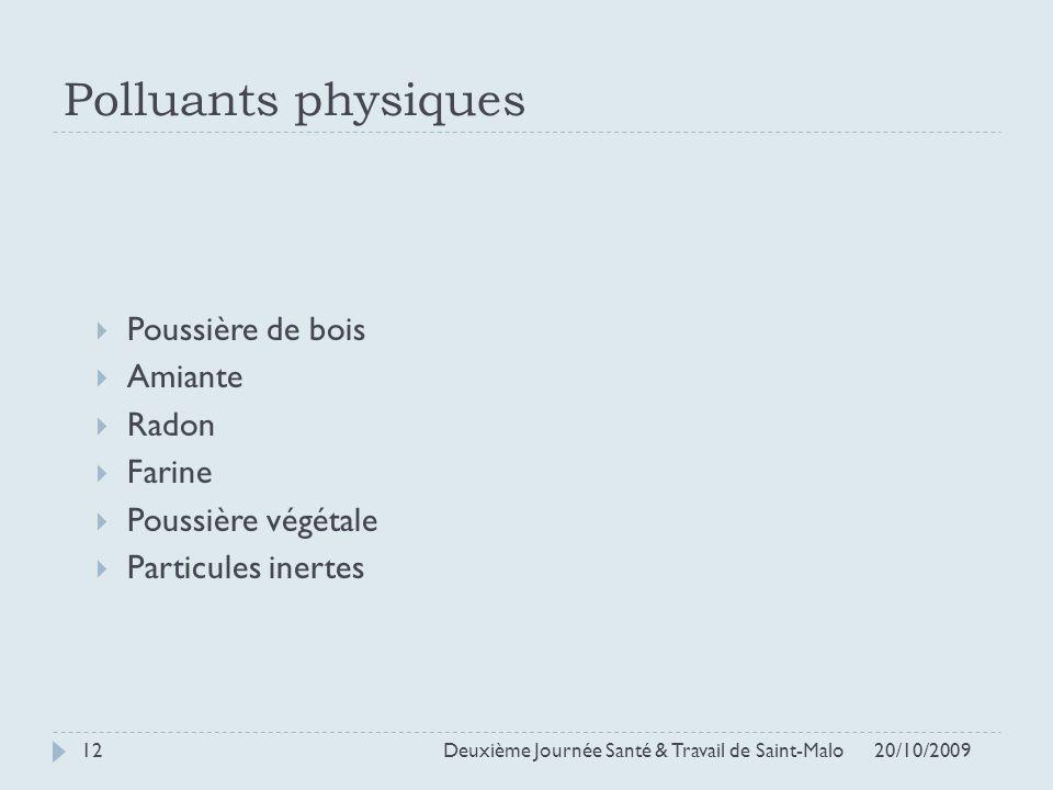 Polluants physiques Poussière de bois Amiante Radon Farine Poussière végétale Particules inertes 20/10/2009 Deuxième Journée Santé & Travail de Saint-