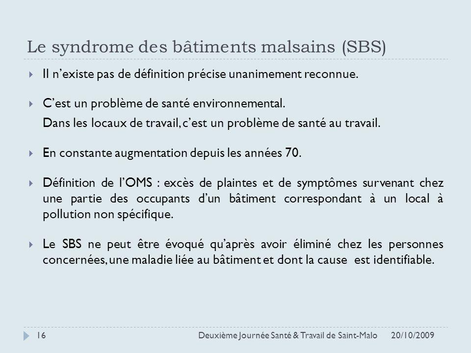 Le syndrome des bâtiments malsains (SBS) Il nexiste pas de définition précise unanimement reconnue. Cest un problème de santé environnemental. Dans le