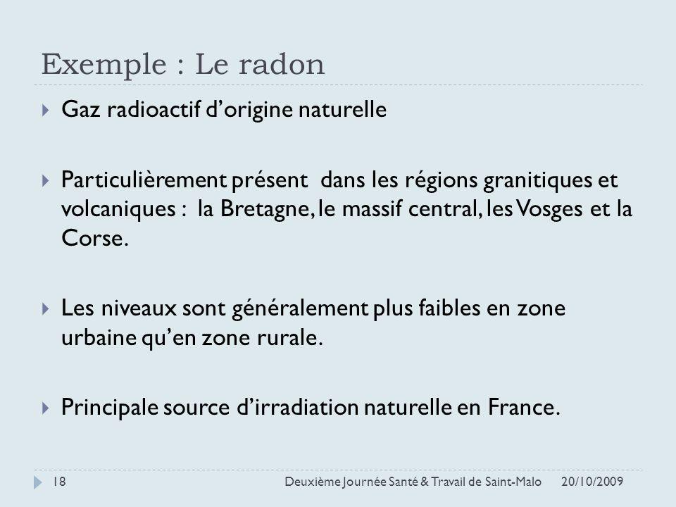 Exemple : Le radon Gaz radioactif dorigine naturelle Particulièrement présent dans les régions granitiques et volcaniques : la Bretagne, le massif cen