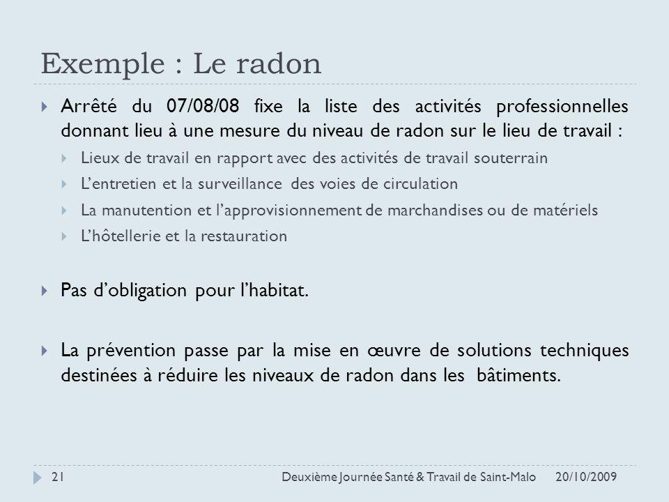 Exemple : Le radon Arrêté du 07/08/08 fixe la liste des activités professionnelles donnant lieu à une mesure du niveau de radon sur le lieu de travail