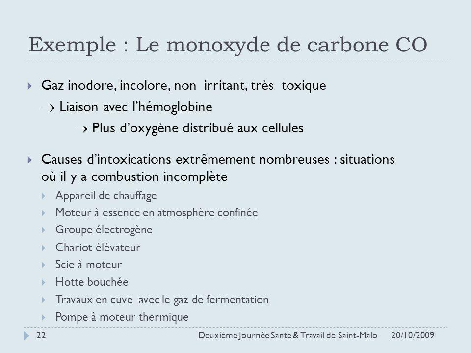 Exemple : Le monoxyde de carbone CO Gaz inodore, incolore, non irritant, très toxique Liaison avec lhémoglobine Plus doxygène distribué aux cellules C