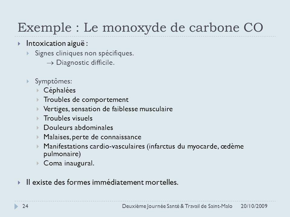 Exemple : Le monoxyde de carbone CO Intoxication aiguë : Signes cliniques non spécifiques. Diagnostic difficile. Symptômes: Céphalées Troubles de comp