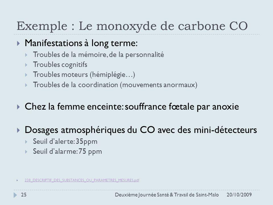 Exemple : Le monoxyde de carbone CO Manifestations à long terme: Troubles de la mémoire, de la personnalité Troubles cognitifs Troubles moteurs (hémip