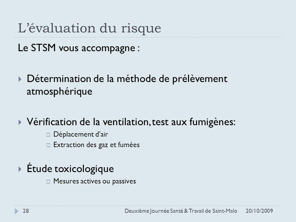Lévaluation du risque Le STSM vous accompagne : Détermination de la méthode de prélèvement atmosphérique Vérification de la ventilation, test aux fumi