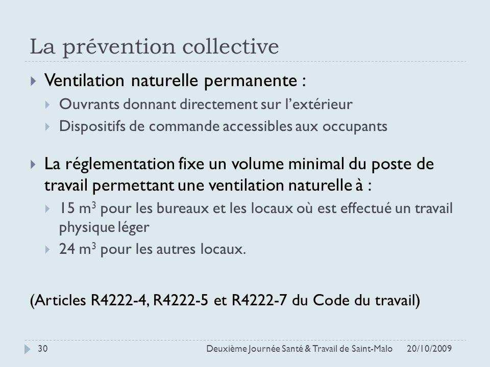 La prévention collective 20/10/2009 Deuxième Journée Santé & Travail de Saint-Malo 30 Ventilation naturelle permanente : Ouvrants donnant directement