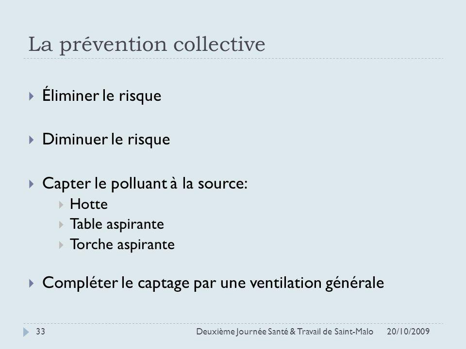 La prévention collective 20/10/2009 Deuxième Journée Santé & Travail de Saint-Malo 33 Éliminer le risque Diminuer le risque Capter le polluant à la so