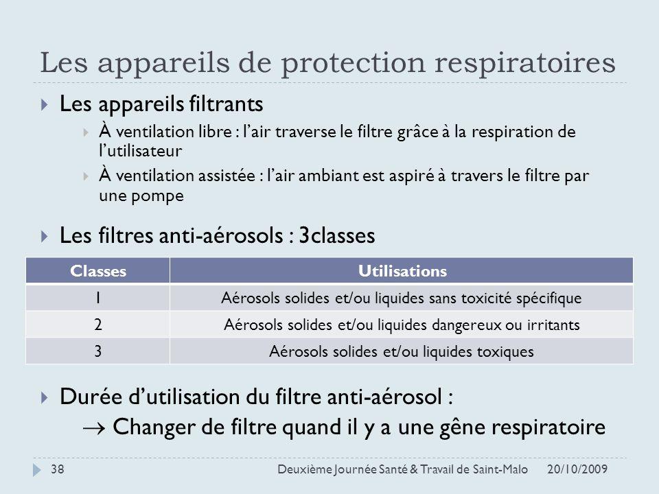 Les appareils de protection respiratoires 20/10/2009 Deuxième Journée Santé & Travail de Saint-Malo 38 Les appareils filtrants À ventilation libre : l