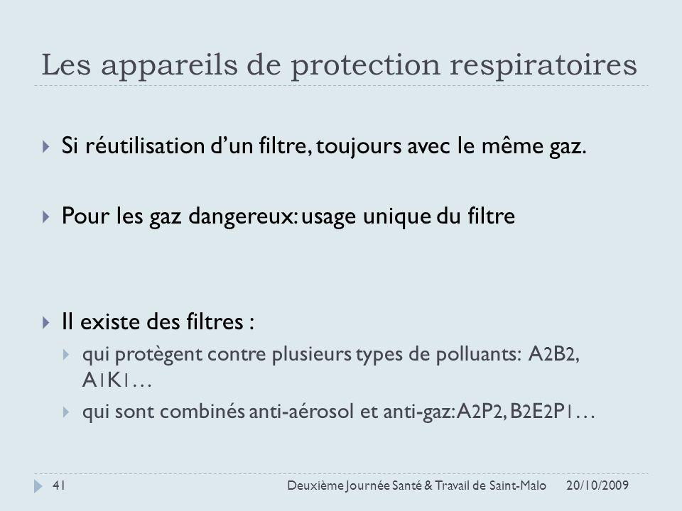 Les appareils de protection respiratoires 20/10/2009 Deuxième Journée Santé & Travail de Saint-Malo 41 Si réutilisation dun filtre, toujours avec le m