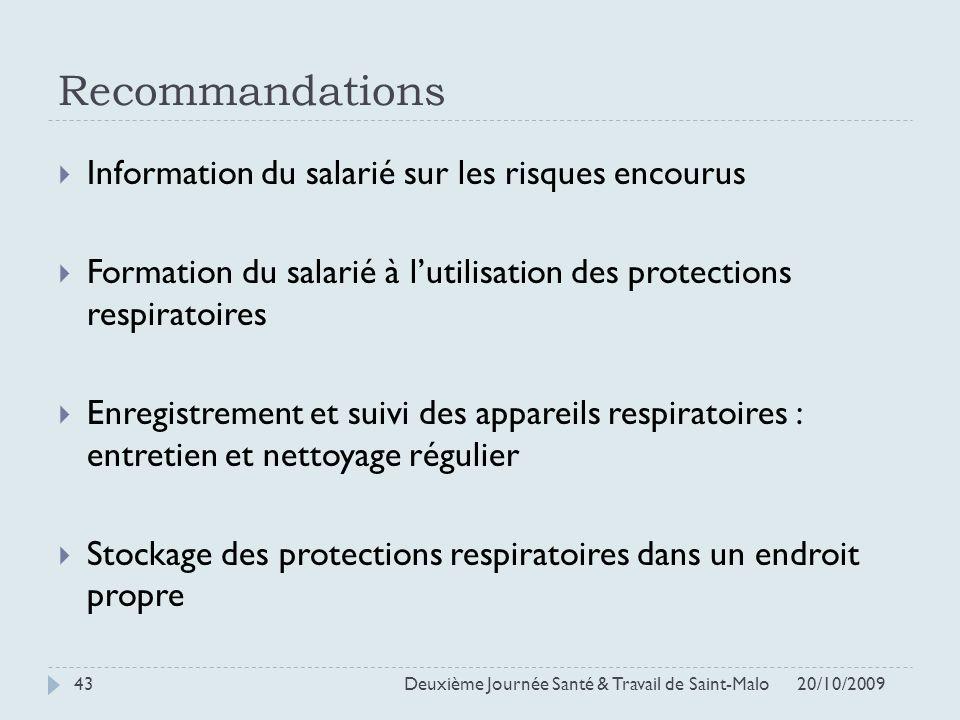 Recommandations 20/10/2009 Deuxième Journée Santé & Travail de Saint-Malo 43 Information du salarié sur les risques encourus Formation du salarié à lu