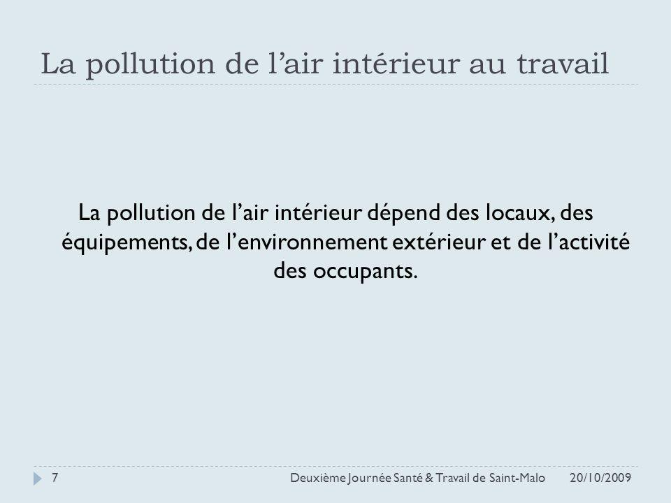 La pollution de lair intérieur au travail La pollution de lair intérieur dépend des locaux, des équipements, de lenvironnement extérieur et de lactivi