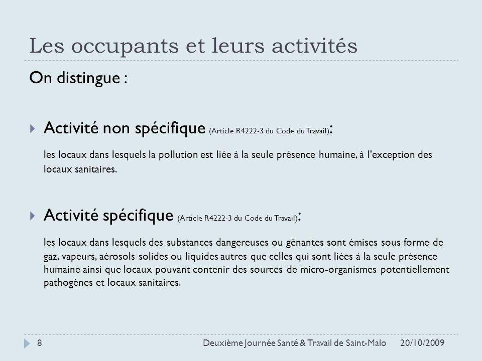 Les occupants et leurs activités On distingue : Activité non spécifique (Article R4222-3 du Code du Travail) : les locaux dans lesquels la pollution e