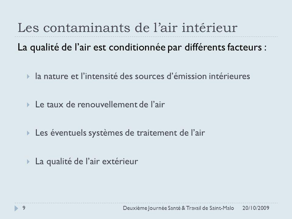 Les contaminants de lair intérieur La qualité de lair est conditionnée par différents facteurs : la nature et lintensité des sources démission intérie