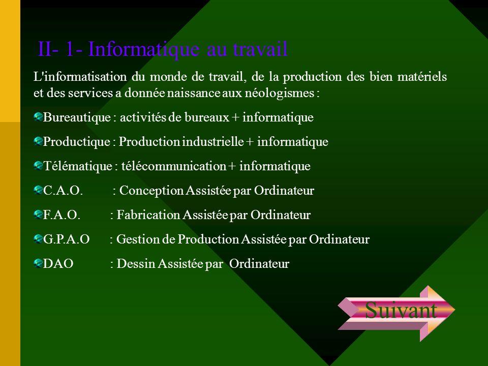 II- 1- Informatique au travail L'informatisation du monde de travail, de la production des bien matériels et des services a donnée naissance aux néolo