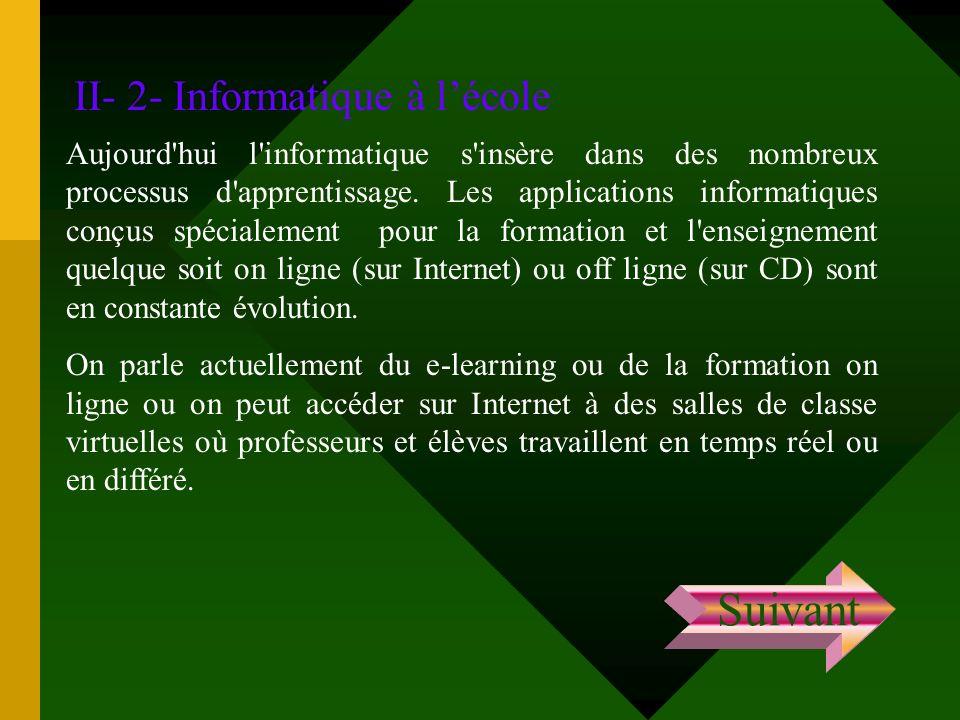 II- 2- Informatique à lécole Aujourd'hui l'informatique s'insère dans des nombreux processus d'apprentissage. Les applications informatiques conçus sp