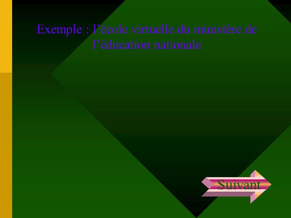Exemple : lécole virtuelle du ministère de léducation nationale Suivant