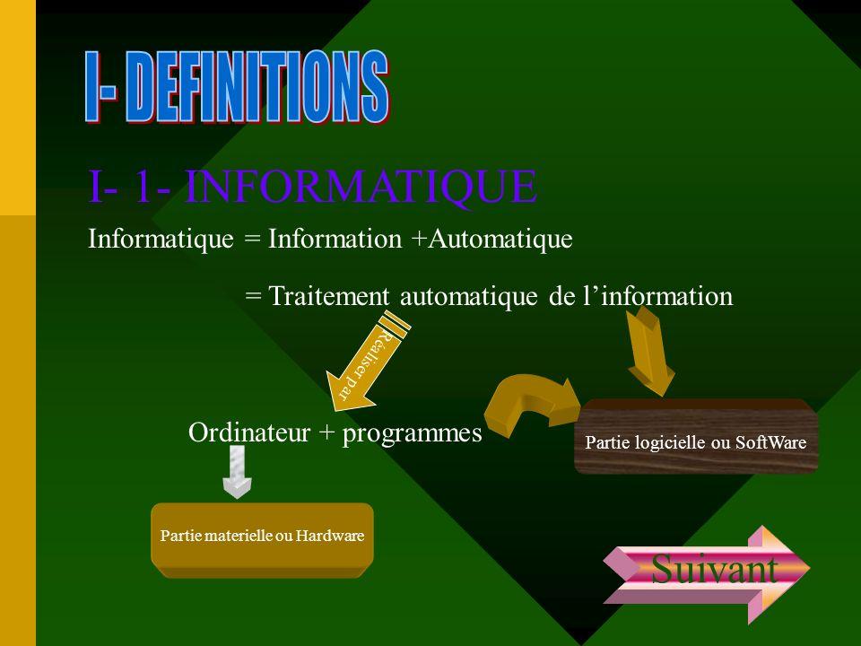 I- 1- INFORMATIQUE Informatique = Information +Automatique = Traitement automatique de linformation Réaliser par Ordinateur + programmes Partie materi