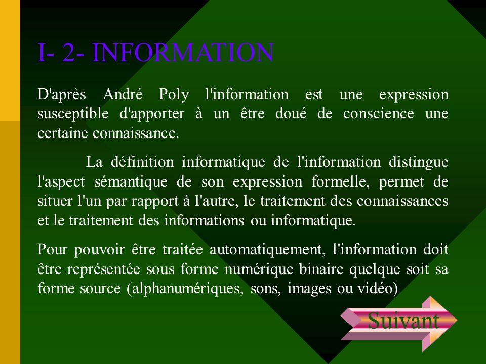 I- 2- INFORMATION D'après André Poly l'information est une expression susceptible d'apporter à un être doué de conscience une certaine connaissance. L