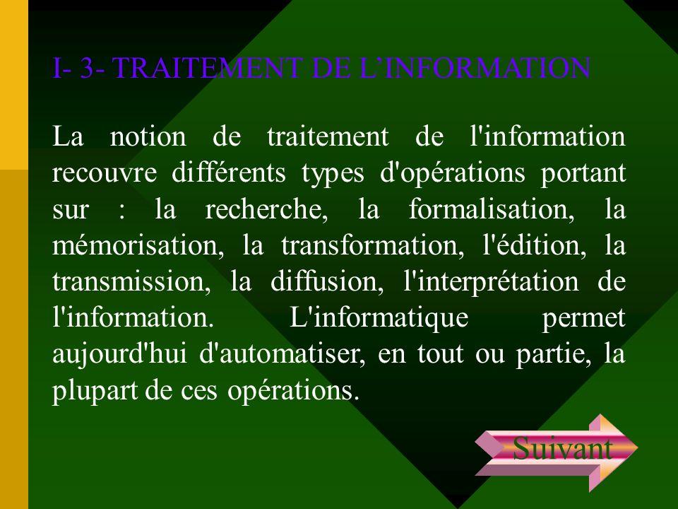 I- 3- TRAITEMENT DE LINFORMATION La notion de traitement de l'information recouvre différents types d'opérations portant sur : la recherche, la formal