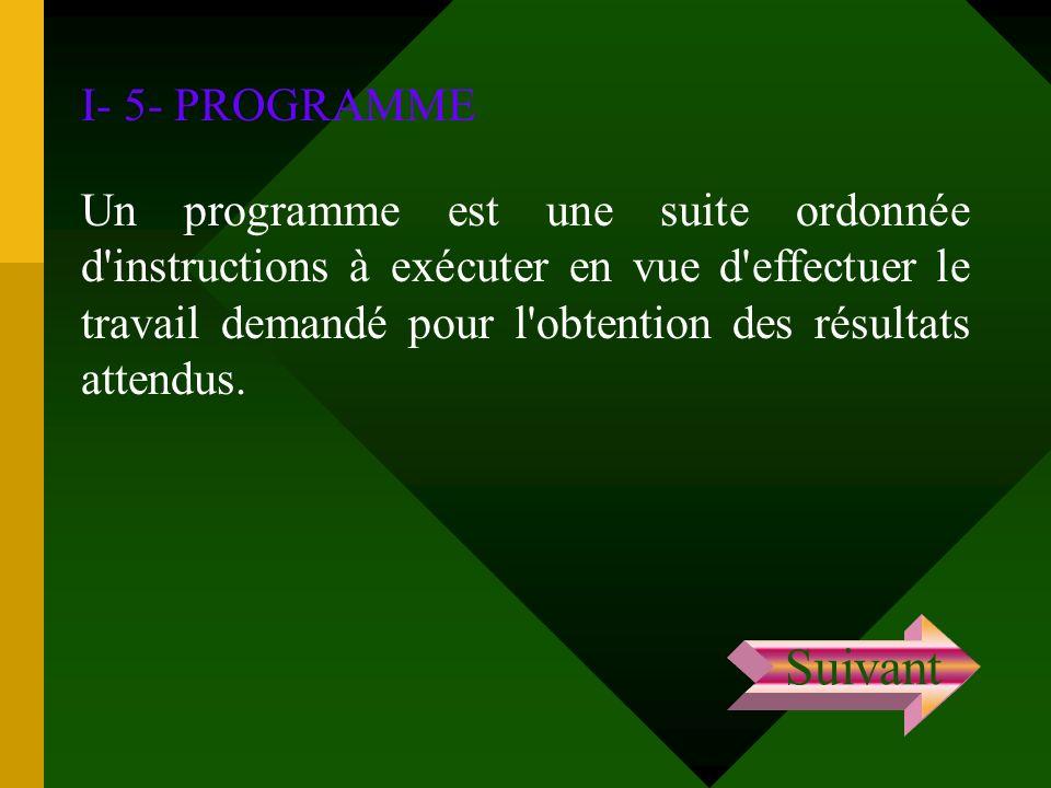 I- 5- PROGRAMME Un programme est une suite ordonnée d'instructions à exécuter en vue d'effectuer le travail demandé pour l'obtention des résultats att