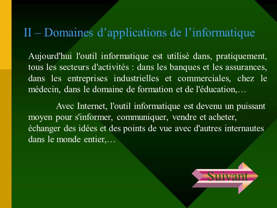 II – Domaines dapplications de linformatique Aujourd'hui l'outil informatique est utilisé dans, pratiquement, tous les secteurs d'activités : dans les