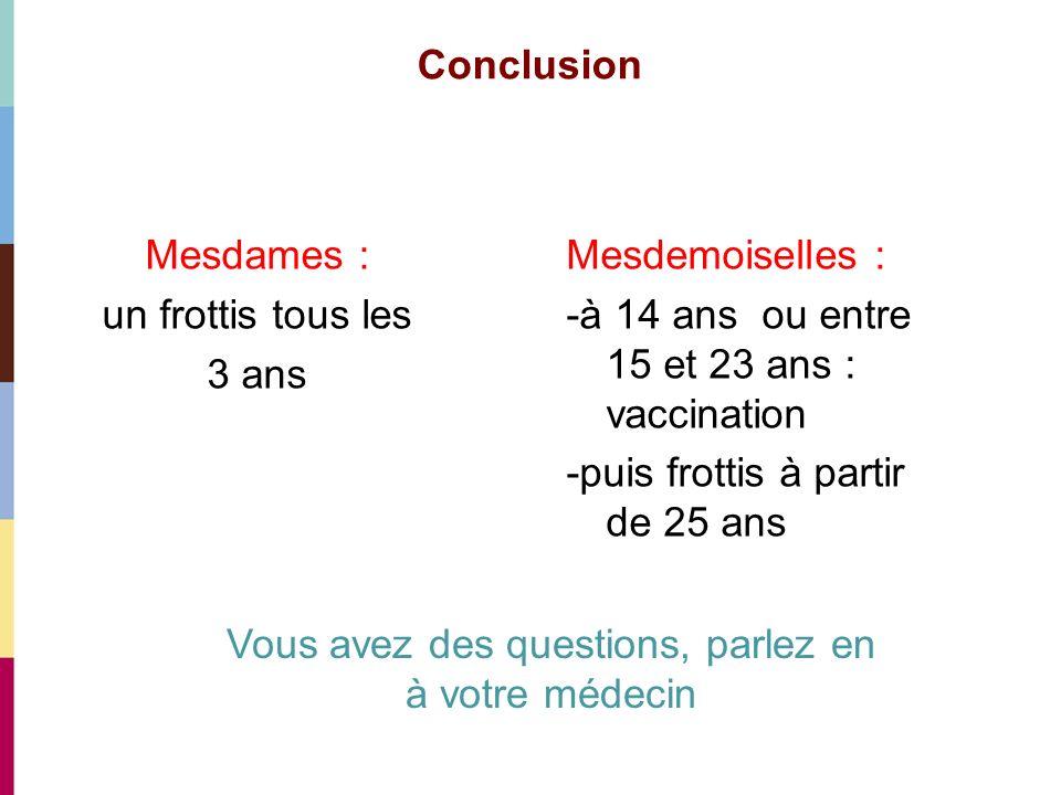 Conclusion Mesdames : un frottis tous les 3 ans Mesdemoiselles : -à 14 ans ou entre 15 et 23 ans : vaccination -puis frottis à partir de 25 ans Vous a