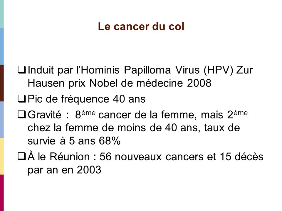 Le cancer du col Induit par lHominis Papilloma Virus (HPV) Zur Hausen prix Nobel de médecine 2008 Pic de fréquence 40 ans Gravité : 8 ème cancer de la