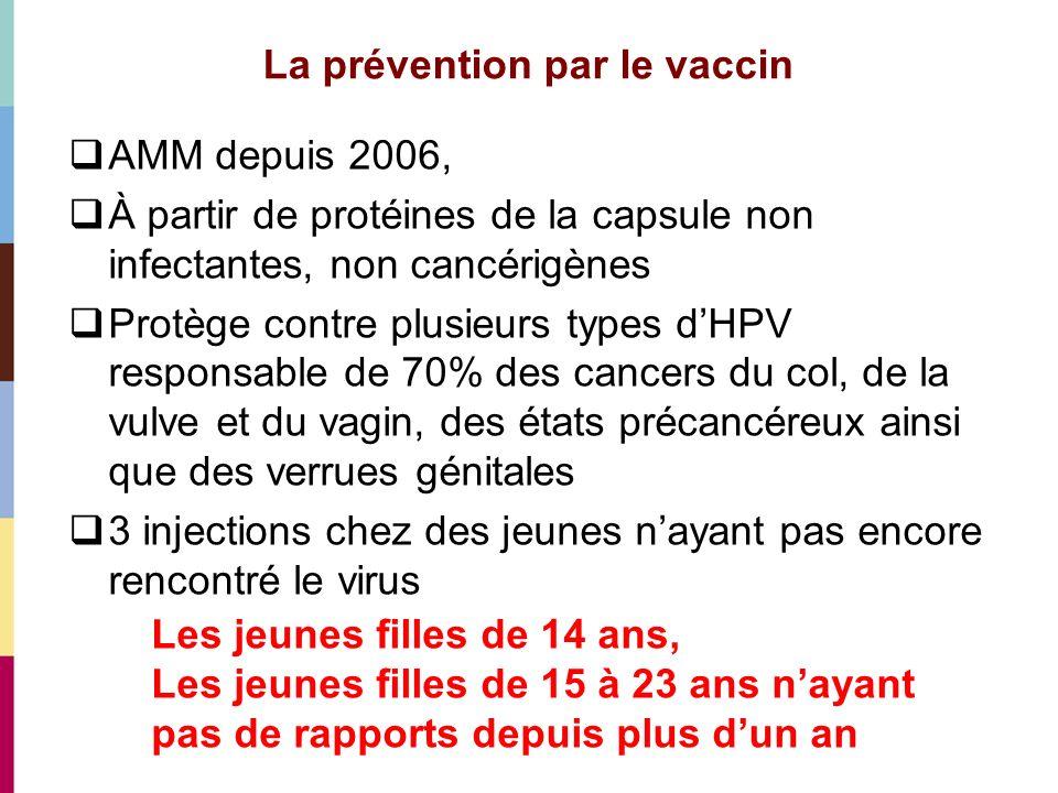 La prévention par le vaccin Efficacité proche de 100% Sécurité : 30 millions de doses injectées, comité de suivi, ré évaluation régulière (AFSSAPS juillet 2008) Effets indésirables : fréquentes réaction au point dinjection, rares épisodes de fièvre