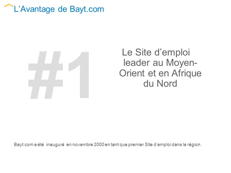 LAvantage de Bayt.com Bayt.com a été inauguré en novembre 2000 en tant que premier Site demploi dans la région.